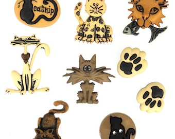 Alley Cats Buttons set of 9,  Dress It Up Buttons, Cat Buttons-I