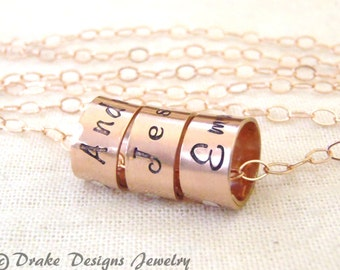 rose Gold charm necklace 14k gold filled mom necklace rose gold with childrens kids names