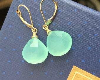 CUSTOM 14K SOLID GOLD Aqua Chalcedony Earrings, Wire Wrapped Gemstones on Leverbacks, Tidal Pool