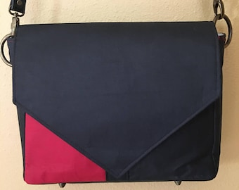 Becca #1741, Red and Black Purse, One of a Kind Purse, Cross Body Purse, Cross Body Bag, Purses, Faux Leather Purse, Re Purposed Vinyl Purse
