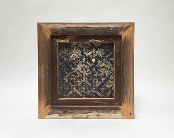 Framed Ceiling Tin  Handmade using Reclaimed Wood