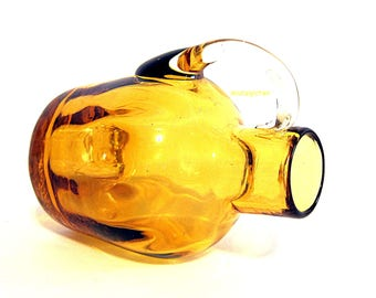 Vintage Pilgrim Amber Glass Jug Ribbed Optic Hand Blown Collectible Miniature Pitcher