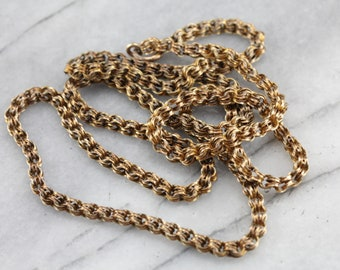 Long Antique Yellow Gold Chain from the Late Victorian Period  AD02FF