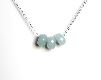 Sterling Silver Chain Necklace with Trio of Icy Blue Faceted Quartz Stones