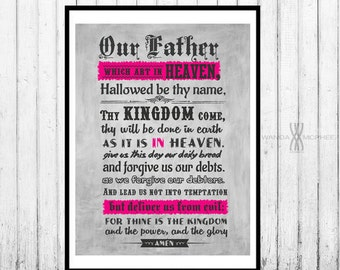 The Lord's Prayer - Lrg 18x24 Print, Scripture Art , Scriptures, Religious Gift, Bible Verse, Christian Wall Art, Christian Art, Bible Art