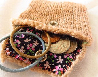 Brandy Pouch - Handspun, handknit pouch