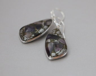 Amethyst in Pyrite Sterling Silver Dangle Earrings, Amethyst Earrings, Purple Earrings, Purple Metallic Earrings