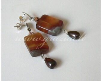 Silver dangle earrings Sterling silver earrings Fluorite silver earrings Natural fluorite earrings Fluorite gemstone black pearl earrings