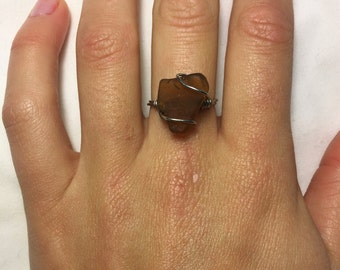 Golden Brown Sea Glass Ring (Size 7)