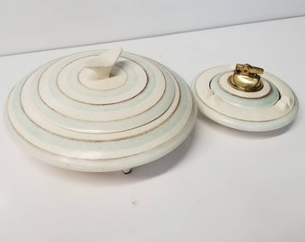 Mid Century Modern Cigarette Box , Ashtray and Lighter Pottery Set UFO Design Sascha Brastoff Style Vintage 1960's