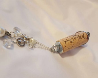 Wine Cork Keychain in Pearl and Crystal