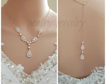 Rose Gold Necklace Wedding Necklace Crystal Back Necklace Bridal Jewelry Leaf Necklace Cubic Zirconia Bridal Back Jewelry, Julia