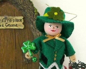 Handmade Felt Doll Ornament, St Patricks Day Decoration Leslie Leprechaun Art Doll