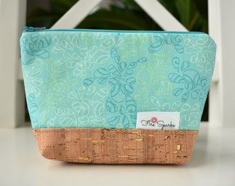 Zipped Pouch - Blue, Doodles - makeup bag, cosmetic bag, toiletry bag, accessories bag, small storage bag, small zipper pouch