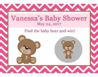24 Personalized Baby Shower Scratch Off Game Cards - Teddy Bear Baby Shower - PINKS