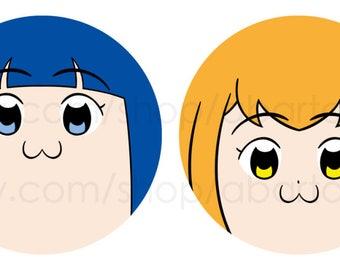 Pop Team Epic Pinback Button Set, Pipimi, Popuko, anime, comic, manga