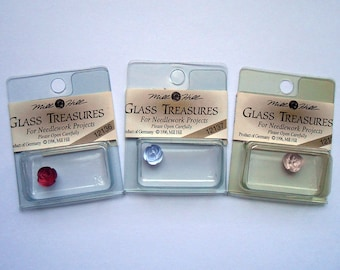 Mill Hill Glass Treasures - Embellishments - Petite Roses - Lot of 3 - Free U.S. Shipping