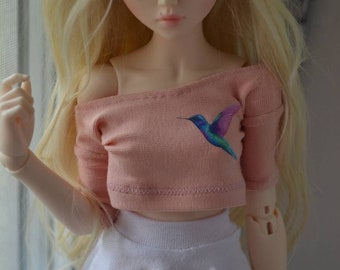 Peach colored top with hummingbird print for Minifee BJD