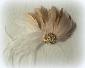 Wedding Hair Accessories, Gold Champagne Fascinator, Gold Brooch, Wedding Fascinator, Feather Hair Clip, Bridal Accessories, Gold Brooch