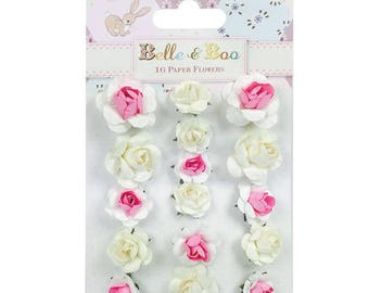 Belle boo scrapbook etsy lot 16 pink white scrapbooking scrap paper flowers card 2 and 3cm wedding belle boo mightylinksfo