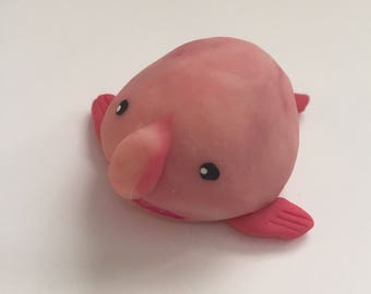 Blob fish Mini Marble  Friend translucent red pink swirl polymer clay