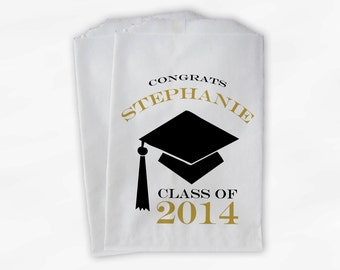 2018 Graduation Cap Personalized Candy Buffet Bags - Set of 25 Black and Gold High School Grad Party Favor Bags in School Colors (0060)