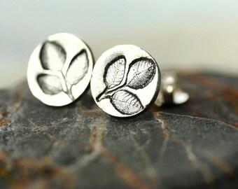 Silver Leaf Earrings - Forest Jewellery | Leaf Jewellery | Oxidized Sterling Silver Earring Studs