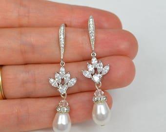 Bridal Cubic Zirconia Crystal Earrings Swarovski Drop Pearls, Silver Tone, Rose Gold Tone, Wedding Jewelry Anita- Ships in 1-3 Business Days