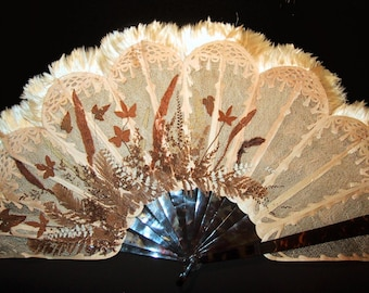Antique Victorian Botanical Fan of Tortoise Celluloid, Dried Pressed Flowers and Reticulated Leaves