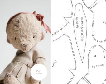 PDF Sewing Pattern & Tutorial Mohair Teddy Bear 6 inches Artist Teddy Bear Pattern For Women Stuffed Animal Pattern Plush Pattern Soft Toys