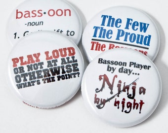 Bassoon Ninja plus three Music Buttons or Magnets - size one inch - BSN 1