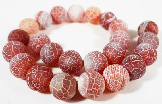 """Brown Agate Beads 6mm Round Agate Gemstone Beads Frosted Matte Fire Agate Stone Beads for Jewelry Making on a 7"""" Strand with 31 Beads"""