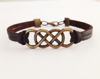 Double Infinity bracelet Antique bronze Infinity Brown leather bracelet Friendship bracelet BFF Gift