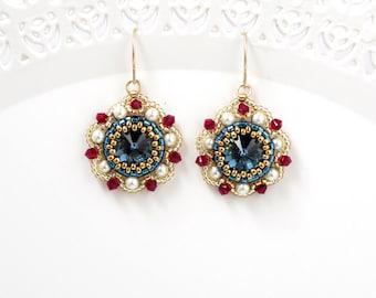 Blue dangle earring, Victorian earrings, Blue crystal earring, Dark blue earring, Pearl and crystal earrings, Pearl bridesmaid earrings
