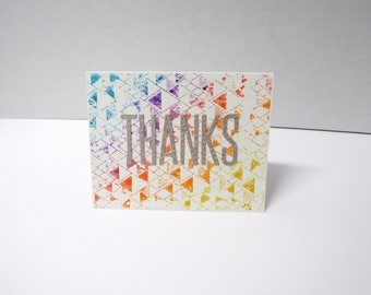 Handmade greeting card - Thanks - Thank you card - Watercolor - Geometric