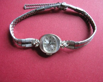 14K White Gold Lucien Piccard Ladies Watch Womens, small diamonds Not running