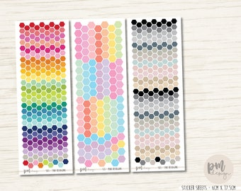 Tiny or Mini Hexagon Stickers - Planner Stickers - S03/13