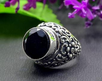 Natural Black Onyx Round Gemstone Ring 925 Sterling Silver R445