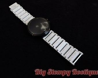 Gold / Silver / Grey Glitter Moto 360 1st Gen Linked Articulated Watch Band Strap _-*-_ 22mm Spring Bars and Watch NOT INCLUDED