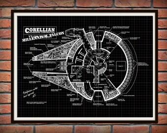 Millennium Falcon Patent Art Print Wall Poster - Drawing Illustration - Star Wars - Corellian Engineering Company