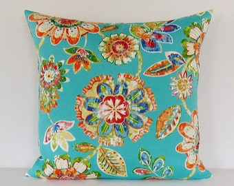 Outdoor Pillow Cover Aqua Turquoise Floral Decorative Throw Accent Patio Sunroom 16x16 18x18 20x20 12x16 12x18 12x20 Lumbar Zipper