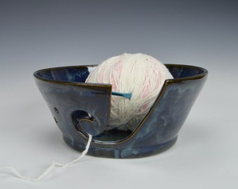 Stoneware yarn bowl, pottery knitting bowl, ceramic crocheting bowl