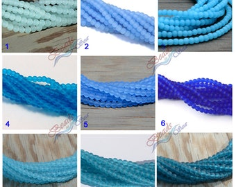 Your Choice~50pcs (4mm) Blue Round Cultured Sea Glass Beads~Beach Glass Beads~Jewelry Making Beads