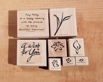 Stampin' Up Retired Set - 1998 A Wish For You - Rubber Stamp Set of 8 - RS-053