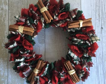 Wreath / Door Hanging / Harris Tweed / Red & Green / Christmas Wreath / Scottish Decoration / Plaid Wreath