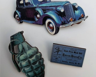 3 x Wooden Brooches - Grenade, Car, Ticket (SET A14)