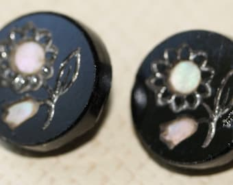 Black Glass with Pearl Inlay
