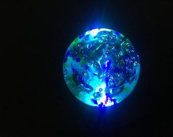 Solar Powered Garden Ornament - Beautiful  in the daytime - Illuminates  in the dark-  Blue Green