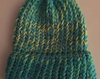 Blue and yellow loom knit baby hat