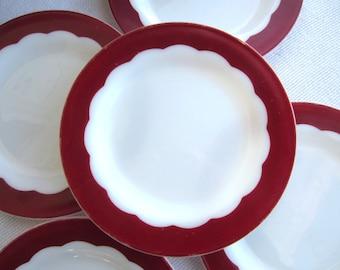 Vintage 1950's Milk Glass Dinner Plates White Red Scalloped Design Corning Dinnerware